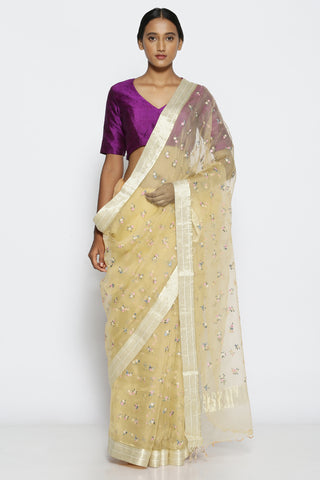 Golden Beige Pure Sheer Silk-Organza Saree with All Over Floral Embroidery