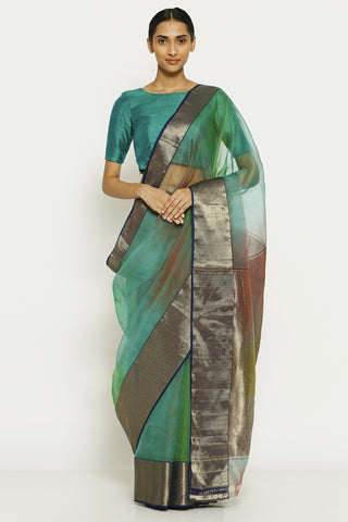 Teal Green Handloom Pure Silk Chanderi Saree with Ombre Effect and Gold Zari Border