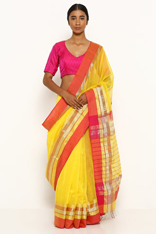 Yellow Handloom Silk Cotton Maheshwari with Contrasting Pink Border
