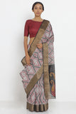 Grey Handloom Pure Silk Cotton Saree with Ikat Motif and Detailed Border