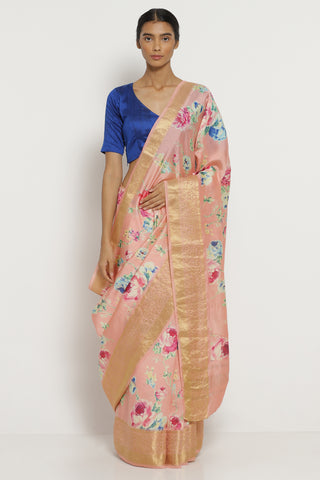 Pink Dupion Silk Saree with All Over Floral Print and Detailed Border