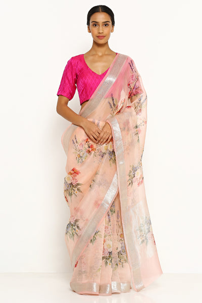 Via East light pink pure silk organza saree with all over floral print and silver zari border