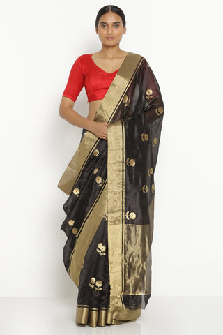 Black Handloom Pure Silk Chanderi Saree with All Over Floral Motifs