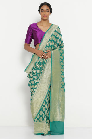 Teal Green Handloom Pure Silk-Georgette Banarasi Saree with All Over Traditional Gold Motifs
