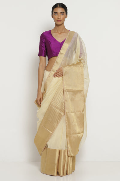 Via East off white handloom silk cotton chanderi saree with rich gold border