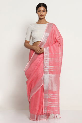 Coral Pink Pure Linen Saree with Silver Zari Border and Striking Blouse