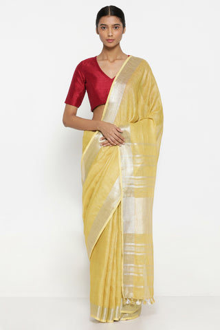 Bright Yellow Pure Linen Saree with Rich Silver Tissue Border
