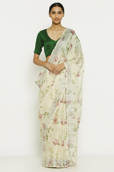 Via East vanilla white pure linen saree with all over floral print and silver zari border