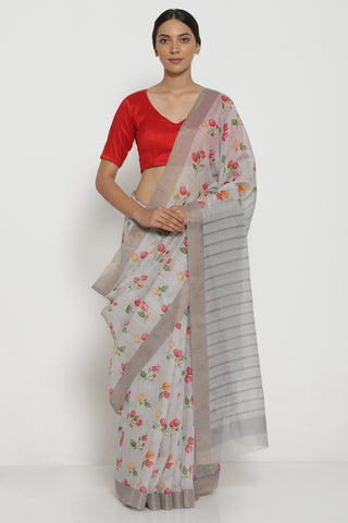Grey Pure Linen Cotton Saree with All Over Floral Motifs and Striped Pattern