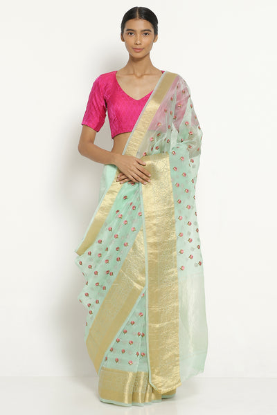 Via East aqua blue handloom pure silk organza saree with all over embroidered floral motifs