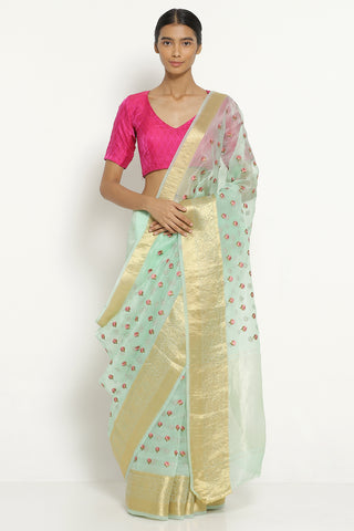 Aqua Green Handloom Pure Silk-Organza Saree with All Over Embroidered Floral Motifs
