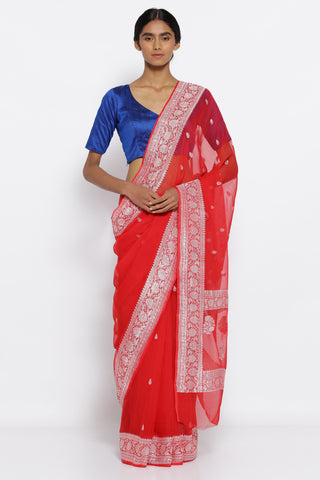 Bright Red Pure Silk Banarasi Georgette Saree with All Over Silver Zari Motifs and Detailed Border and Pallu
