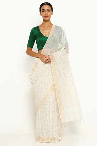 White Pure Linen Silk Saree with All Over Zari Checks and Embroidery