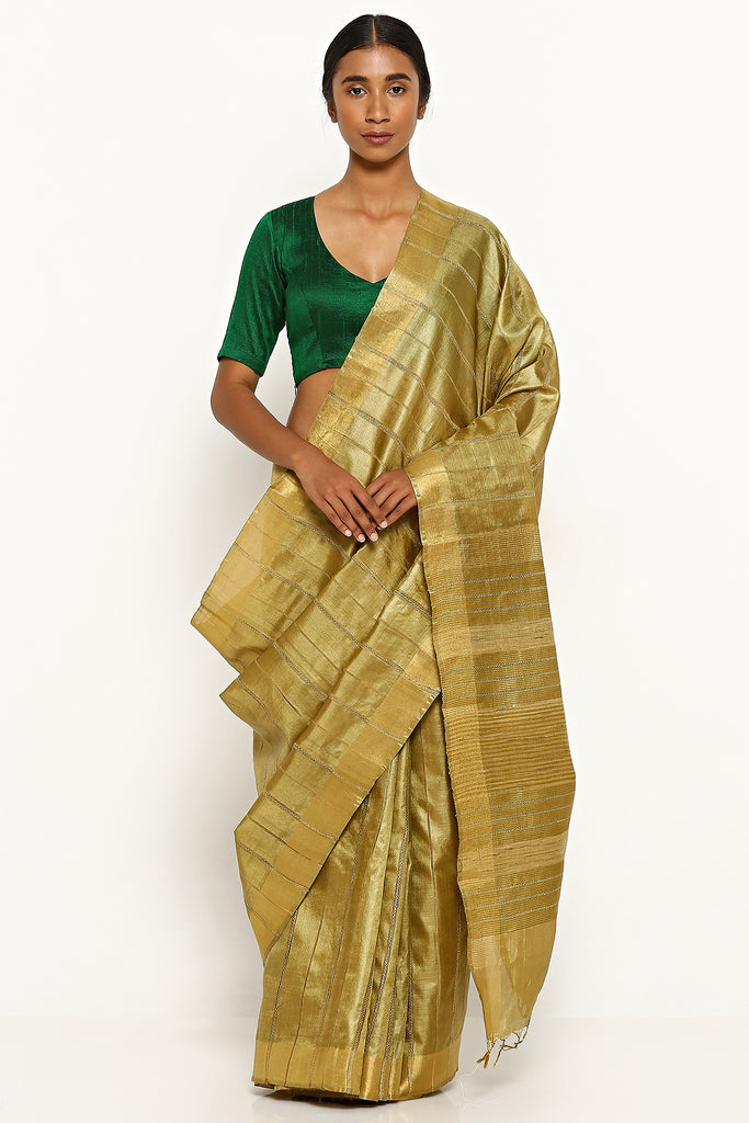 Olive Green Handloom Pure Tussar Silk Saree with Woven Stripes