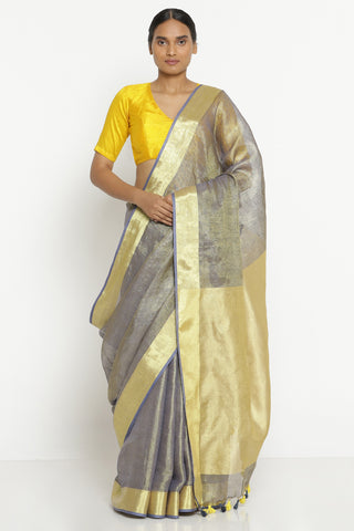 Melange Grey Linen Tissue Saree with Gold Zari Border