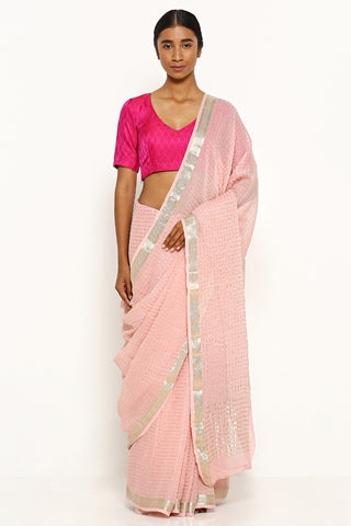Light Pink Pure Chiffon Sarees with All Over Silver Zari Checks