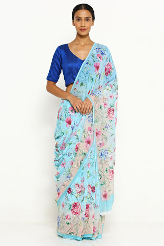 Blue-Beige Pure Wrinkled Chiffon Saree with All Over Floral Print