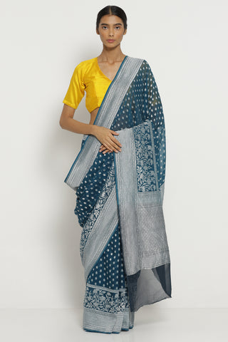 Teal Blue Handloom Pure Silk-Georgette Banarasi Saree with All Over Silver Zari Motifs