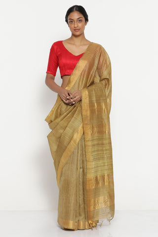 Olive Green Handloom Pure Tussar Silk Saree with Gold Zari Border