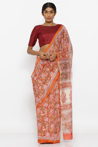 Orange Handloom Pure Silk-Cotton Saree with Sanganeri Block Print and Detailed Pallu