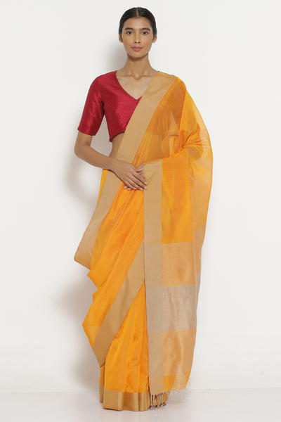 Via East bright yellow handloom pure silk cotton maheshwari saree with woven gold border