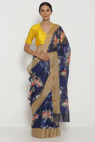 Deep Blue Pure Linen Cotton Saree with All Over Floral Motifs and Gold Woven Border