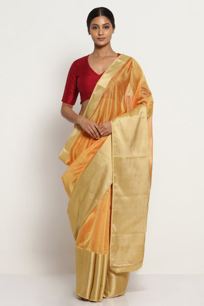 Via East yellow ochre handloom silk cotton chanderi saree with rich gold border