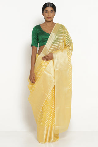 Canary Yellow Silk Cotton Banarasi Saree with All Over Motifs and Rich Pallu