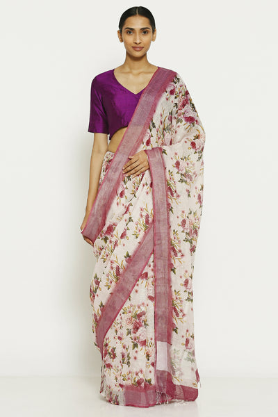 Via East vintage white pure linen saree with all over floral print and pink border