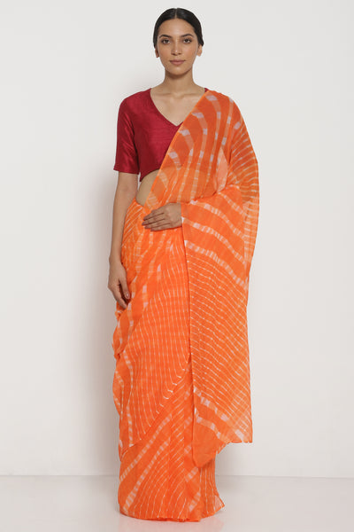 Via East sunset orange pure chiffon saree with traditional leheriya pattern