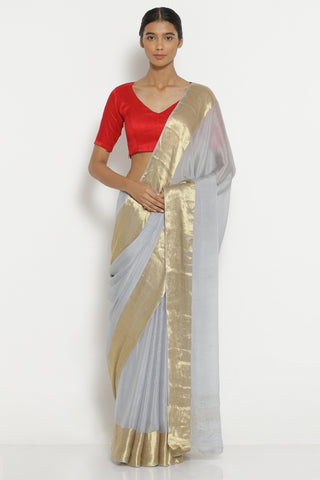 Grey Pure Crepe Saree with Woven Gold Zari Border
