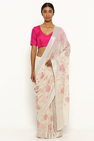 Beige Pure Chiffon Saree with All Over Floral Embroidery and Pink Satin Border