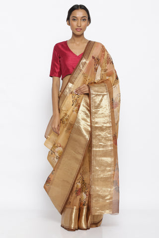 Light Brown Pure Silk Organza Sheer Saree with All Over Printed Floral Pattern and Rich Gold Zari Border