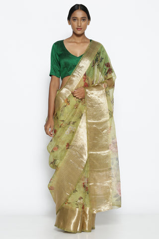 Pistachio Green Pure Silk-Organza Saree with Floral Print Over Zari Checks