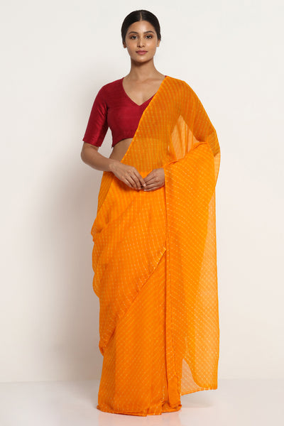 Via East bright yellow pure chiffon saree with traditional leheriya print