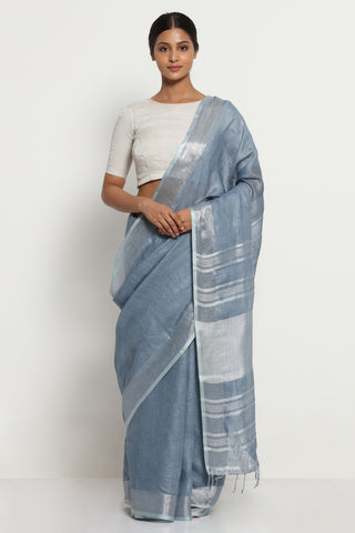 Deep Grey Pure Linen Saree with Silver Zari Border and Striking Blouse