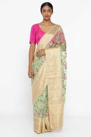 Mint Green Pure Silk-Organza Saree with All Over Embroidered Floral Jaal and Detailed Border
