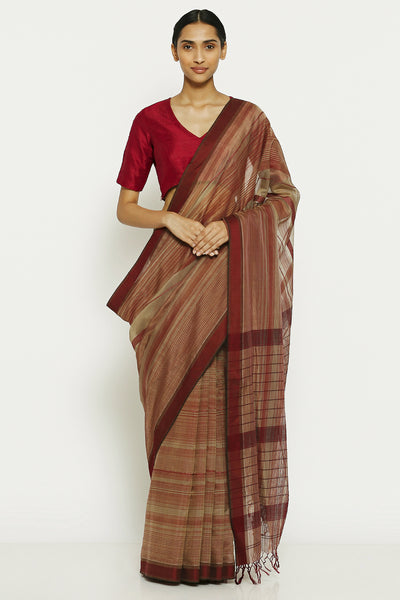 Via East dusty grey maroon pure cotton tissue maheshwari saree with all over striped pattern