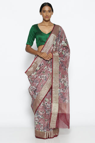 Purple Linen Silk Saree with All Over Floral Print