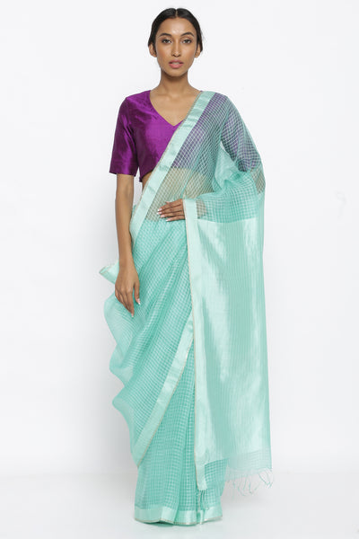Via East sea green handloom pure tussar silk sheer saree with checked pattern and silver zari border