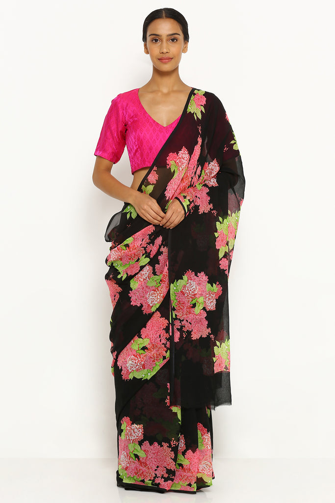 Black Pure Wrinkled Chiffon Saree with All Over Floral Print