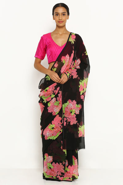 Via East black pure wrinkled chiffon saree with all over floral print