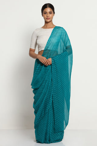 Teal Green Pure Chiffon Saree with Traditional Leheriya Print
