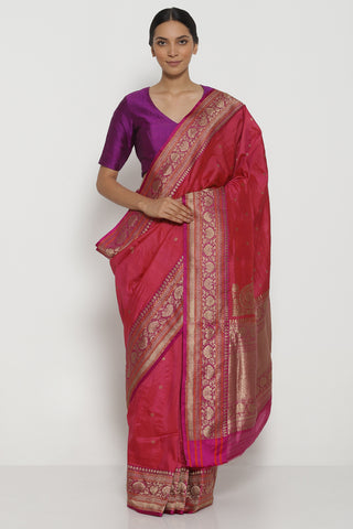 Pink Handloom Pure Tussar Silk Banarasi Saree with All Over Gold Zari Motifs