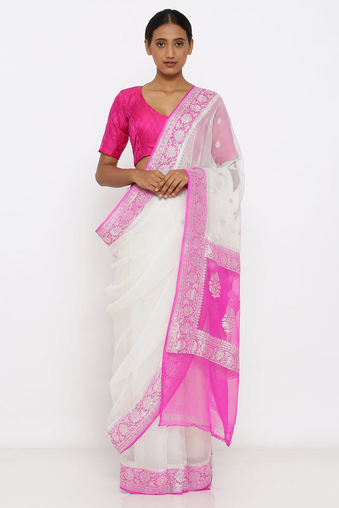White Handloom Pure Chiffon Banarasi Saree with Zari and Light Pink Border