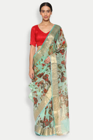Sea Green Pure Silk-Organza Sheer Saree with Detailed Woven Zari Border