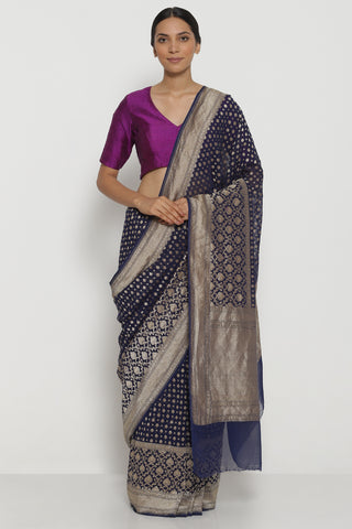 Navy Blue Handloom Pure Silk-Georgette Banarasi Saree with All Over Intricate Gold Zari Motifs