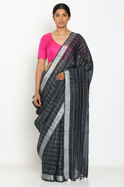 Via East charcoal grey handloom pure linen with all over silver zari checks and border