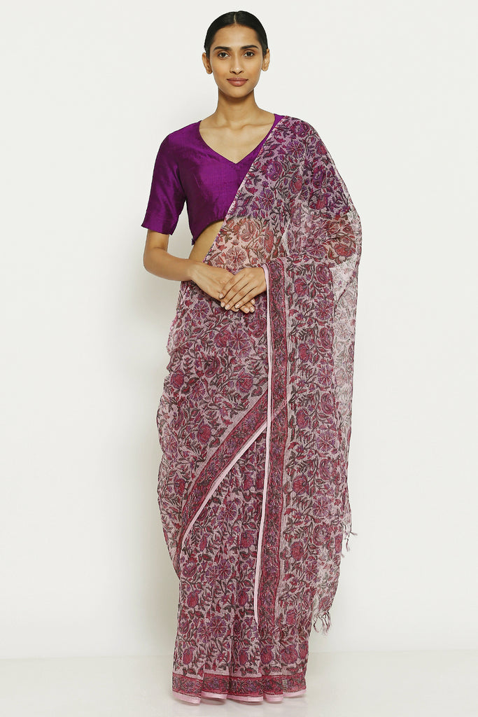 Purple Handloom Pure Cotton Kota Doriya Saree with Traditional Sanganeri Print