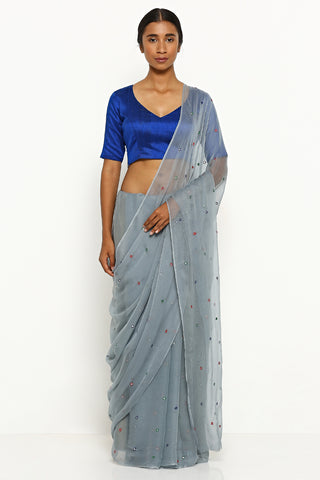 Grey Chiffon Saree with All Over Embellishment